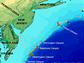 Northern U.S. Atlantic margin, showing major canyons that cut through the continental shelf, seeps, and piston cores